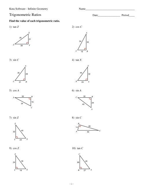 Trigonometric Ratios Worksheets With Answers   Worksheets ...