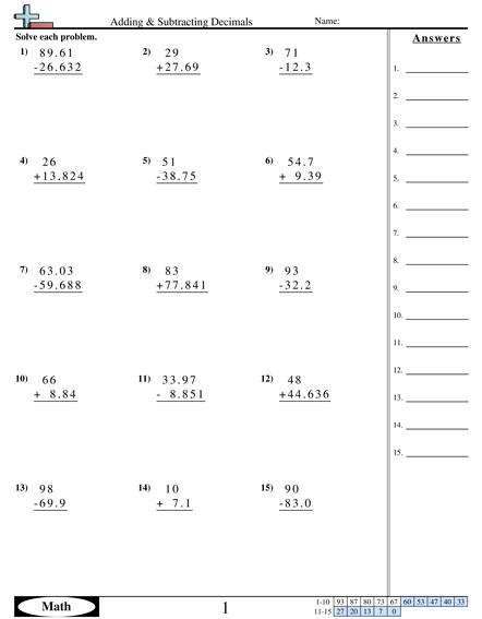 Adding   Subtraction Decimals Vertical Worksheet