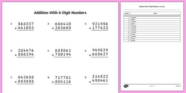 Addition With  Digit Numbers Worksheet  Worksheet