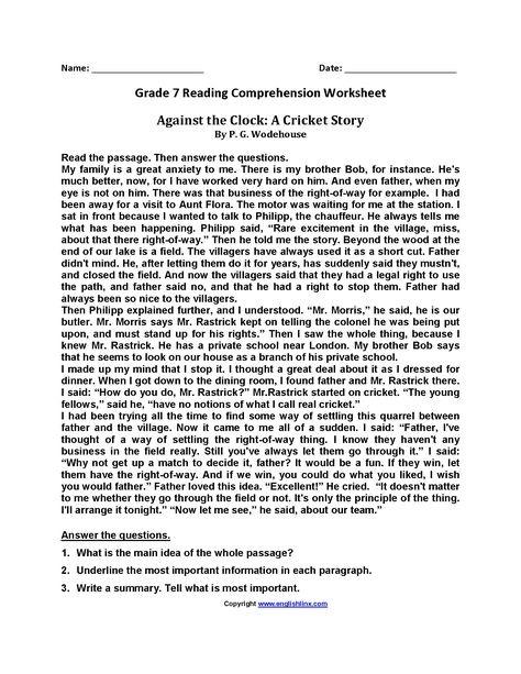 Against The Clockbrseventh Grade Reading Worksheets
