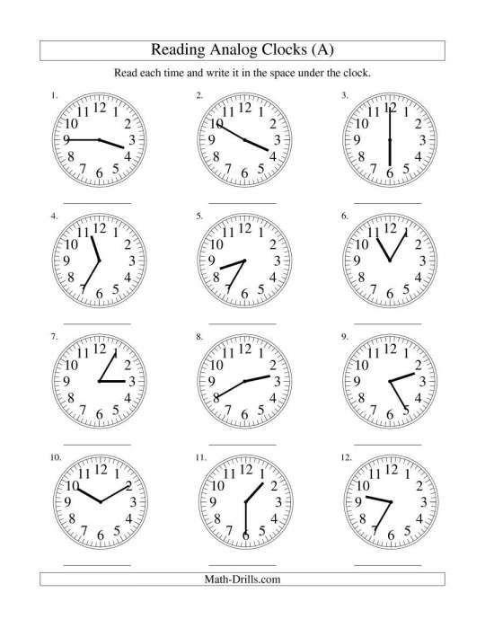 Analog Clock Worksheets Nd Grade