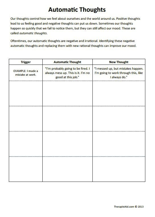 Automatic Thoughts Worksheet