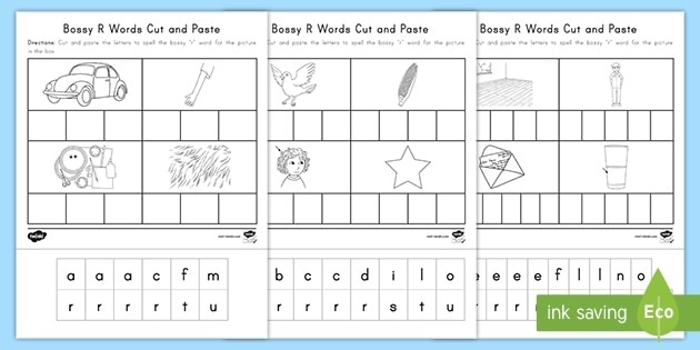Bossy R Words Cut And Paste Activity Sheets Teacher Made