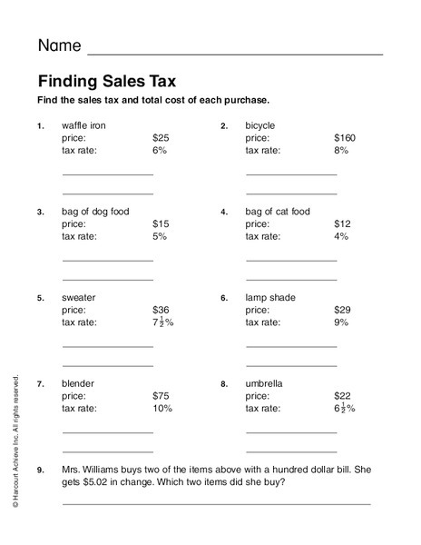Calculating Sales Tax Worksheet