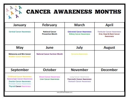 Cancer Awareness Months Calendar