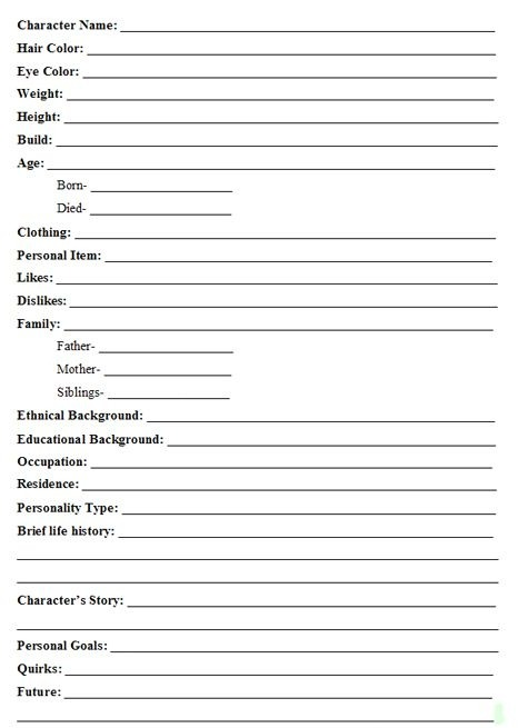 Character Development Worksheets Tina Reber Building Is Fun