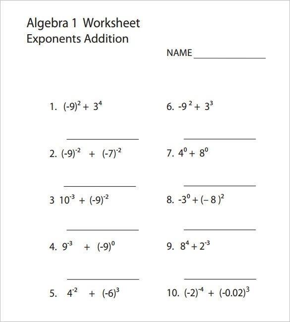 College Algebra Worksheet Templates