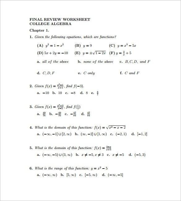 College Algebra Worksheet Templates Pdf Free Premium Worksheets