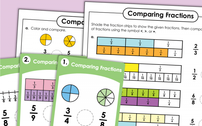 Comparing   Ordering Fractions Worksheets