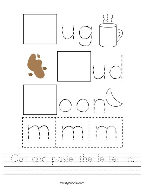 Cut And Paste The Letter M Worksheet