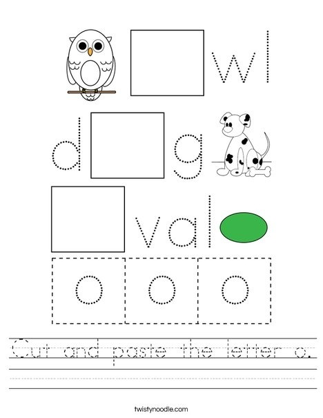 Cut And Paste The Letter O Worksheet