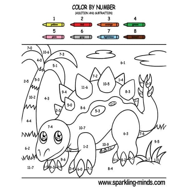 Dinosaur Color By Number Addition And Subtraction Math Coloring