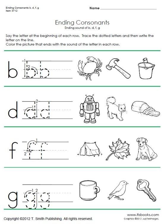 Ending Consonant Phonics Worksheets