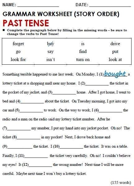 English Grammar Worksheets For Grade  Pdf And Past Simple All
