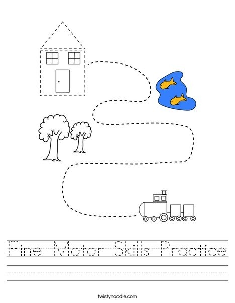 Fine Motor Skills Practice Worksheet Twisty Noodle Worksheets