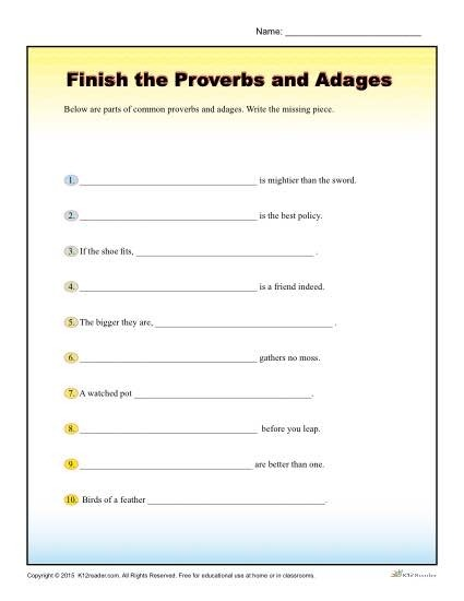 Finish The Proverbs And Adages Worksheet For Th  Th Grade