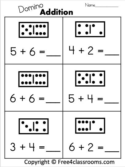 Free  Digit Printable Math Worksheet With Dominos