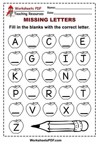 Free Printable Apple Alphabet  Missing Letters