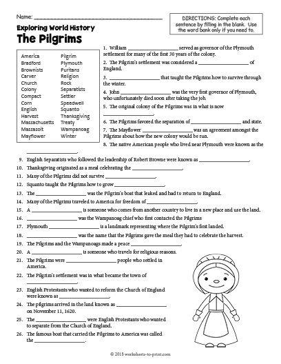 Free Printable The Pilgrims History Worksheet