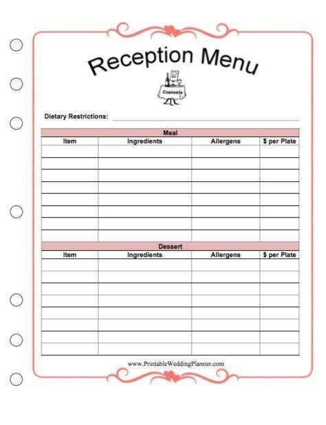 Free Printable Wedding Planner Worksheets New Free Printables