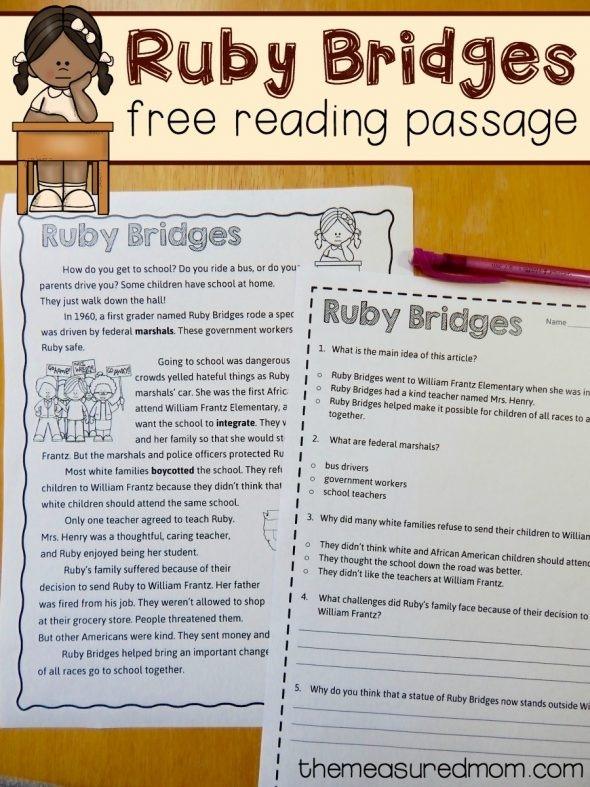 Free Reading Comprehension Passage Ruby Bridges Worksheet The