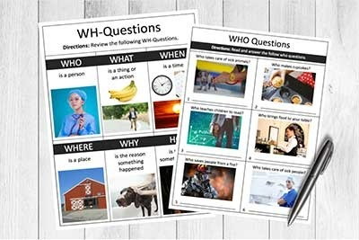 Free Speech Therapy Wh Questions Printable