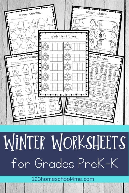 Free Winter Worksheets For Preschool   Kindergartners