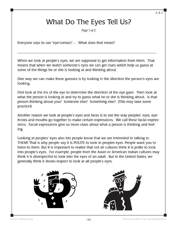 From The Book Worksheets For Teaching Social Thinking And Related