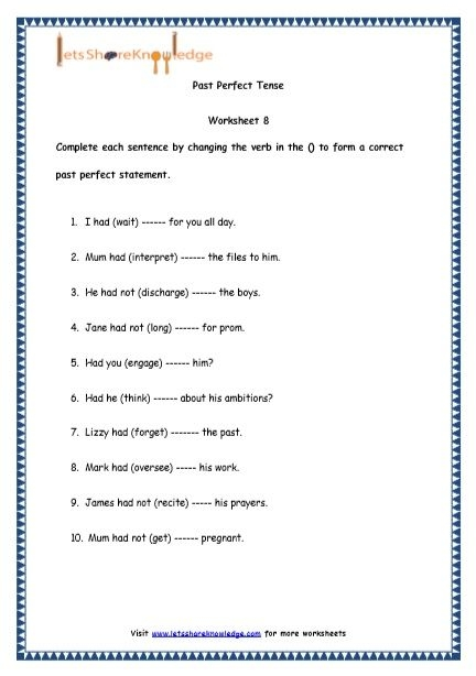 Grade  English Resources Printable Worksheets Topic Past Perfect