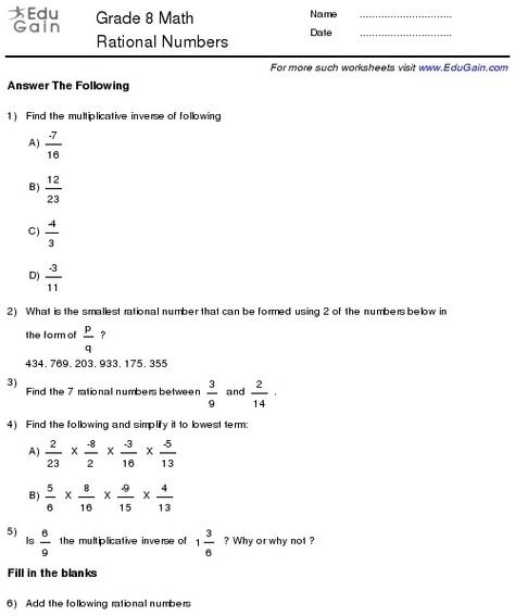 Grade  Math Worksheets And Problems Rational Numbers