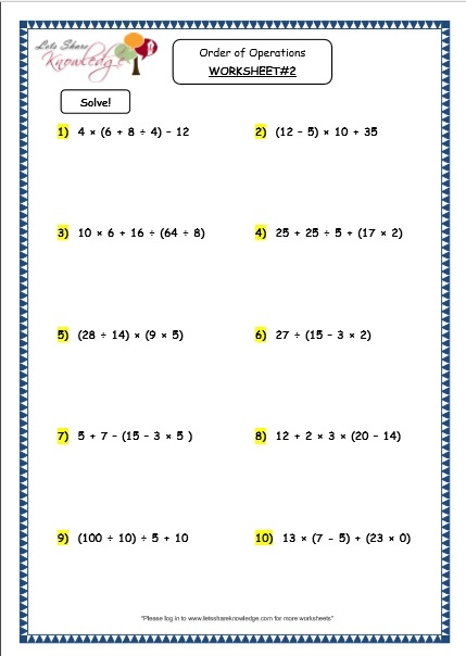 Grade  Maths Resources  Order Of Operations Printable