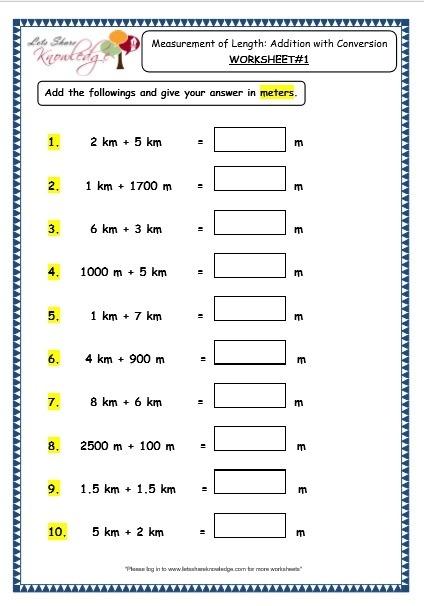 Grade  Maths Worksheets  Measurement Of Length