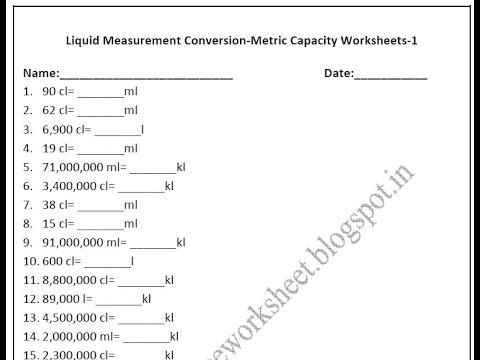Grade  Metric Capacity Worksheets Liquid Measurement Conversion
