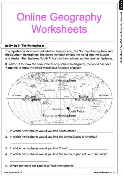Grade  Online Geography Worksheets  Map Work For More Worksheets