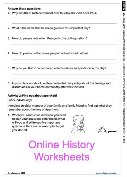 Grade  Online History Democracy Worksheet For More Worksheets
