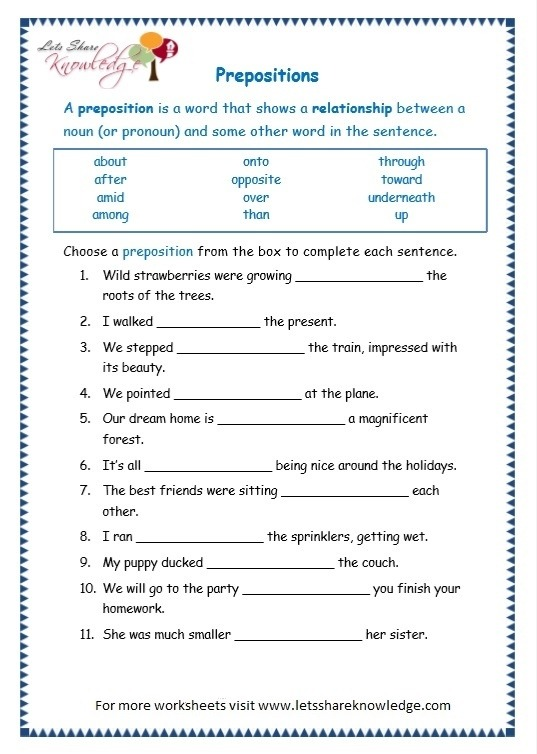 Grade Grammar Topic Prepositions Worksheets Lets Share English