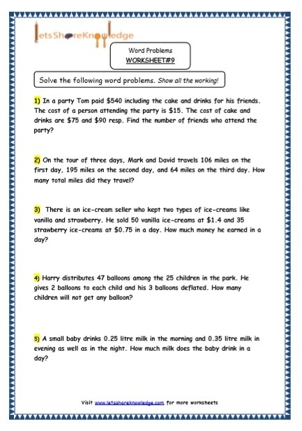 Grade Maths Resources Multiple Step Word Problems Printable Year