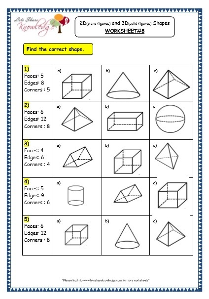 Grade Maths Worksheets Geometry Plane Figures And Geometric Shapes