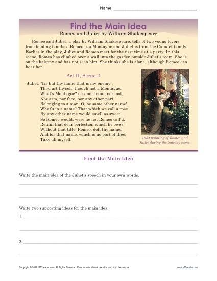 High School Main Idea Worksheet About Romeo   Juliet