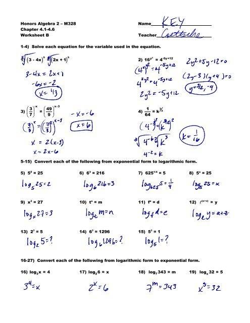 Honors Algebra M Name Chapter Worksheet Worksheets Ratio Math