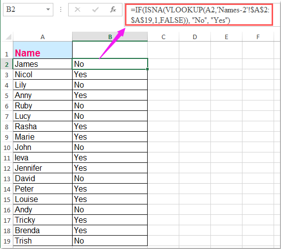 How To Vlookup To Compare Two Lists In Separated Worksheets