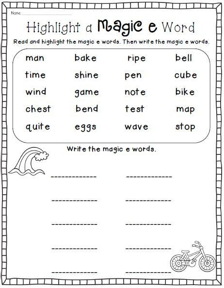 Magic Vowel Cvce Phonics Word Work Printables Worksheets For First
