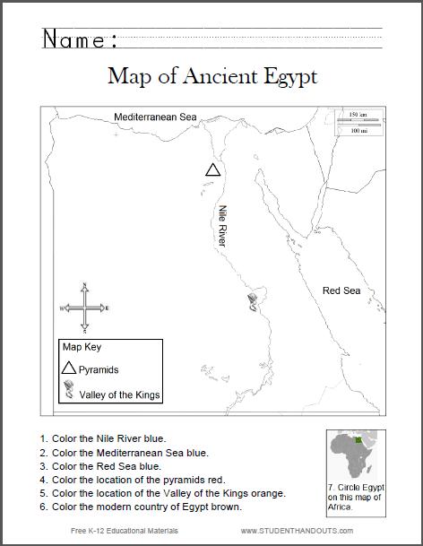 Map Of Ancient Egypt Worksheet For Kids  Grades