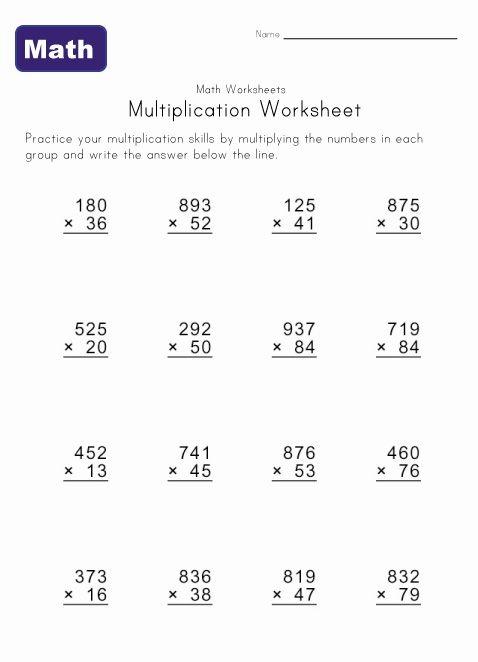 Multiple Digit Multiplication Worksheets Math Triple Th Grade Fun