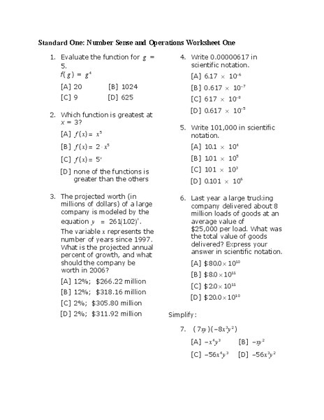 Number Sense And Operations Worksheet For Th