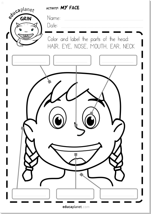 Parts Of The Face Worksheet Printable Free Espanol English In
