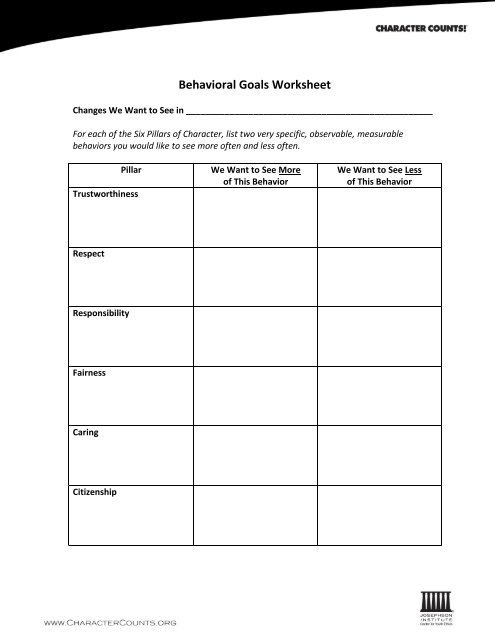 Pillars Of Character Worksheets Behavioral Goals Worksheet Six