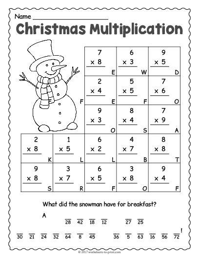 Printable Holiday Math Worksheets Worksheet Grade Work Christmas