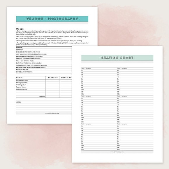 Printable Wedding Planner Pdf