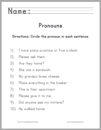 Pronoun Worksheets For Th Grade To Print